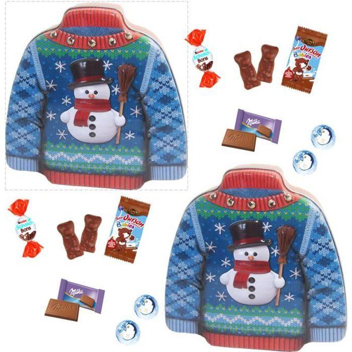 2 boites pulls garnis de 30 chocolats de Noël ,Kinder, Oursons guimauve Cémoi, Milka, boules flocons