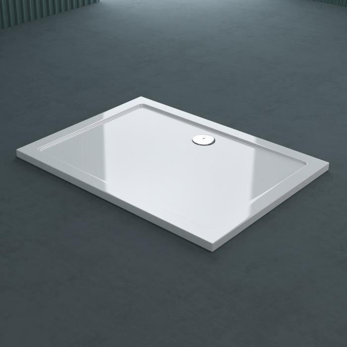 Receveur de douche bac à douche Sogood Faro02 acrylique plat blanc rectangulaire 80x110x4cm pour la salle de bain