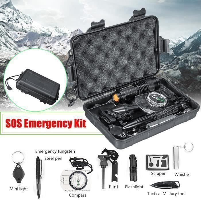 10 en 1 SOS Équipement Survie Multi-fonction Urgence Outil de Survie d'aventure Boîte Premiers Secours Randonnée Camping