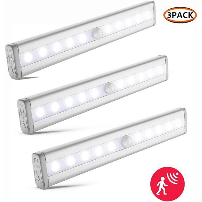 3pcs Lampe Détecteur de Mouvement, Lampe de Placard, fonctionnement sur piles ,Veilleuse LED, 10 LED Lampe Escalier-Blanc