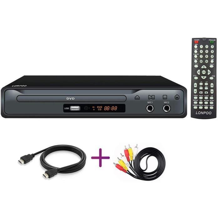 LONPOO Lecteurs DVD Lecteur CD avec Télécommande, MIC, HDMI, RCA, Port USB, Multi Zone Code Zone Gratuit (Noir)