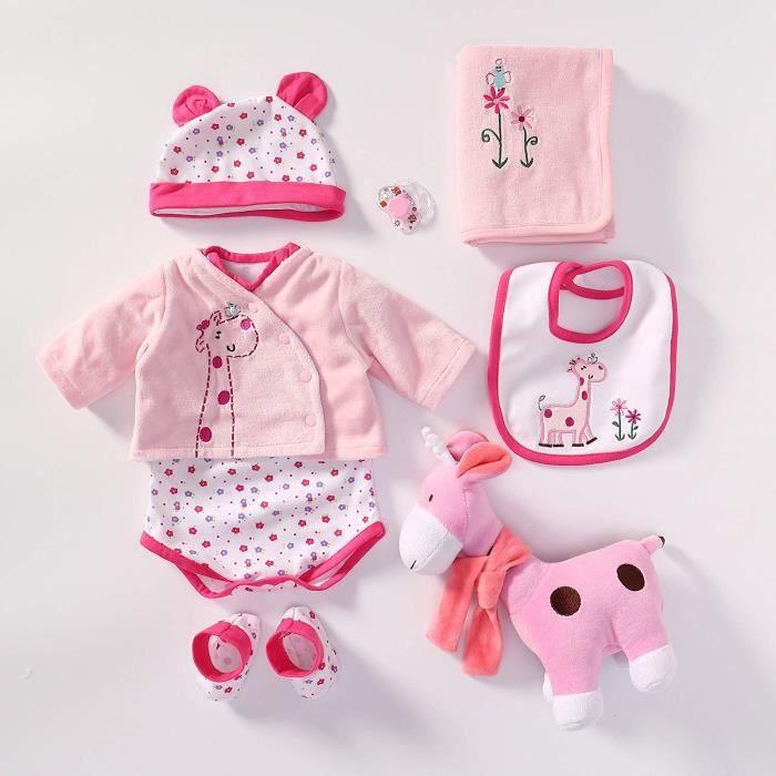 Yesteria Vêtement de Bébé Reborn Tenue pour Fille Poupée Réaliste de 50- 55 cm Girafe Rose