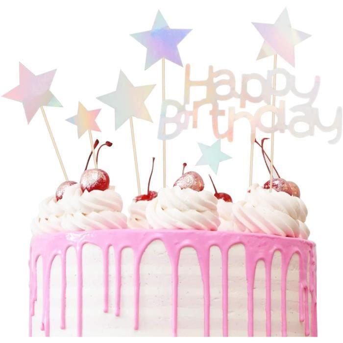CAKE PHIR Gacircteau Anniversaire Deacutecoration Cake Topper Deacutecorations Cupcake Toppers avec Etoile pour Mariages Anniv751