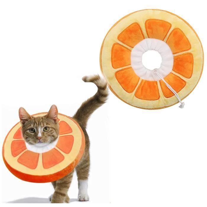 Collerettes pour Chats Chiens Collier de Protection Confort Ajustable Postopératoire Récupération Anti-Morsure Protection(Orange,S)