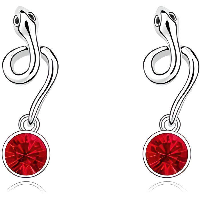 Boucles d'oreilles Serpent en Cristal de Swarovski Element Rouge et Plaqué Or Blanc