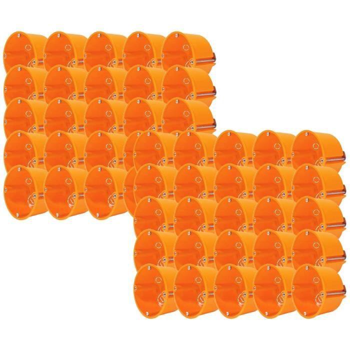 50 Stk Boîte D'Encastrement Prise de Commutateur Cavité Hw Boite Plat 68x47mm
