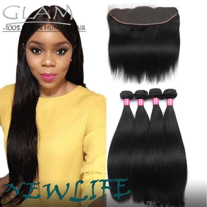 Lot 3 tissage péruvien lisse human hair +13x4 lace closure cheveux naturels 18-20-22-+13*4 closure 16-