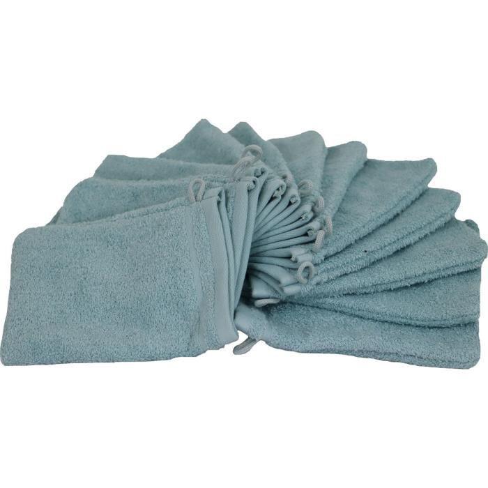 LINANDELLE - Lot de 12 gants de toilette en coton bouclette éponge FLEUR - Vert clair