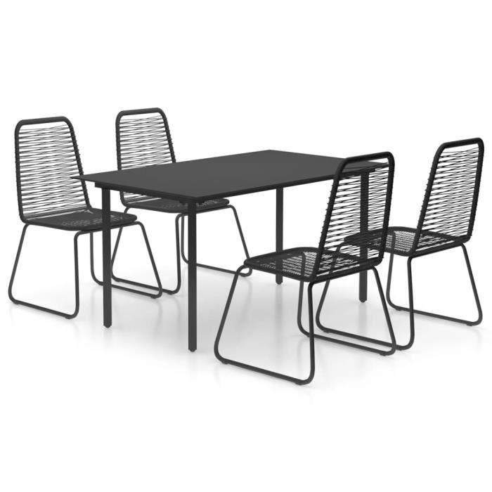 8374REAL® Magnifique Ensemble à dîner de jardin 5 pcs Set bistrot Assemblage FacileSalon de Jardin 1 Table+4 Chaises Rotin PVC Noir