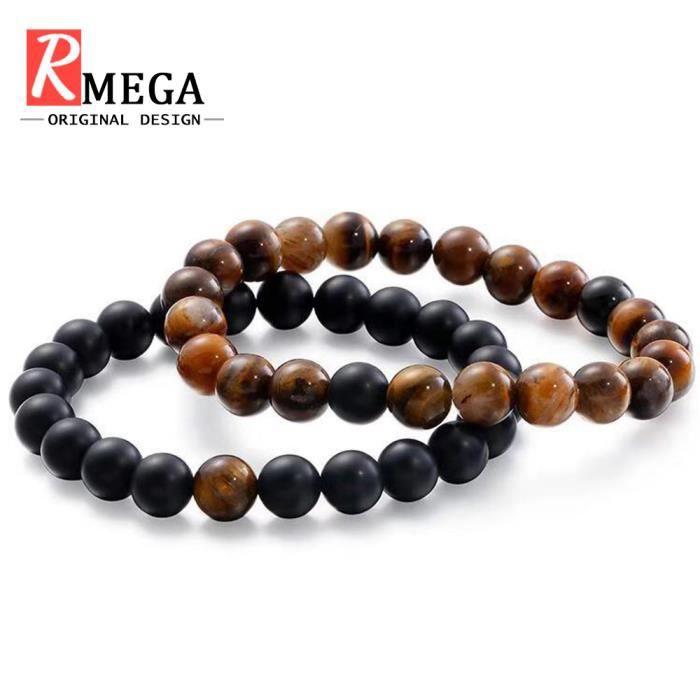RMEGA® Coffret Bracelet Homme - Couples - Distance Bracelet - Design classique - Pierre Naturelle - Brun et Noir