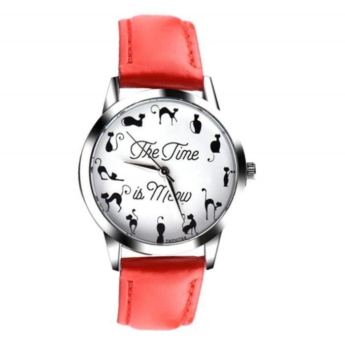 , Montre pour femmes, bracelet en cuir, design tendance, analogique, alliage, montre à quartz RedRed#BCD-1887