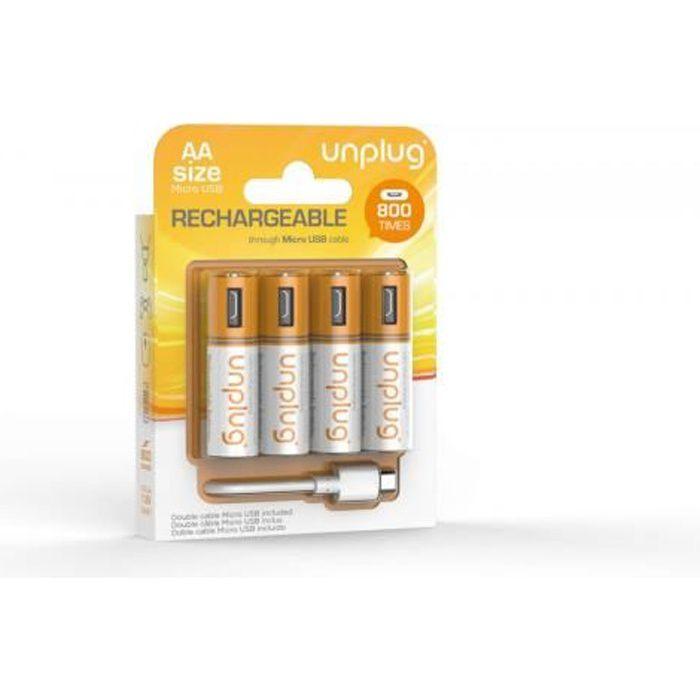 UNPLUG Piles Rechargeables AA Pack de 4 avec Câble Micro USB