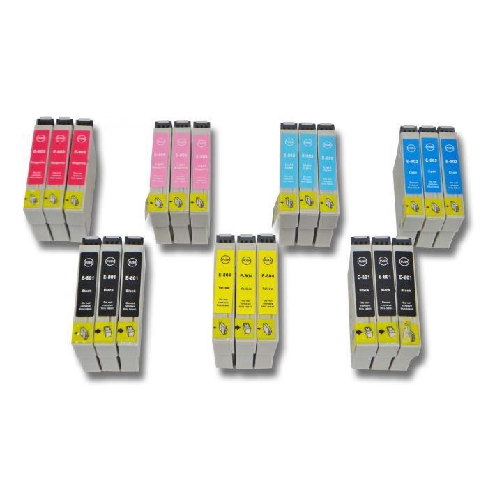 Cartouches d'encre pour Epson Stylus Photo PX730, PX730WD, PX810 - Remplace: T0801, T0802, T0803, T0804, T0805, T0806 - Contenu d...