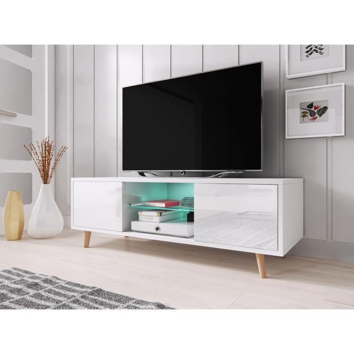 VIVALDI Meuble TV - SWEDEN - 140 cm - blanc mat / blanc brillant avec LED - style scandinave