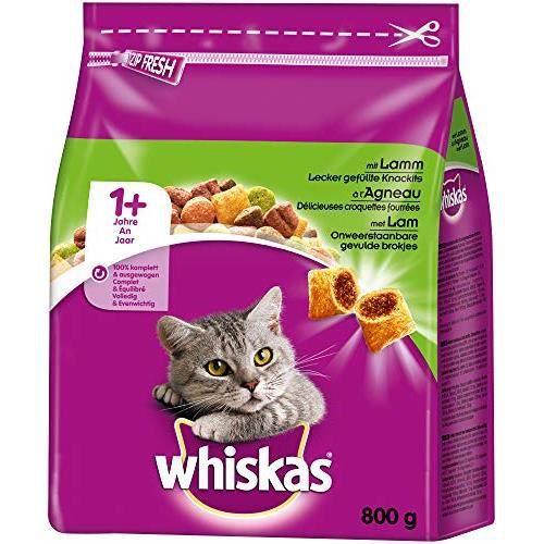 Whiskas-Nourriture sèche pour chat Adulte 1+ avec agneau (5 x 0,8 kg) 5900951265341