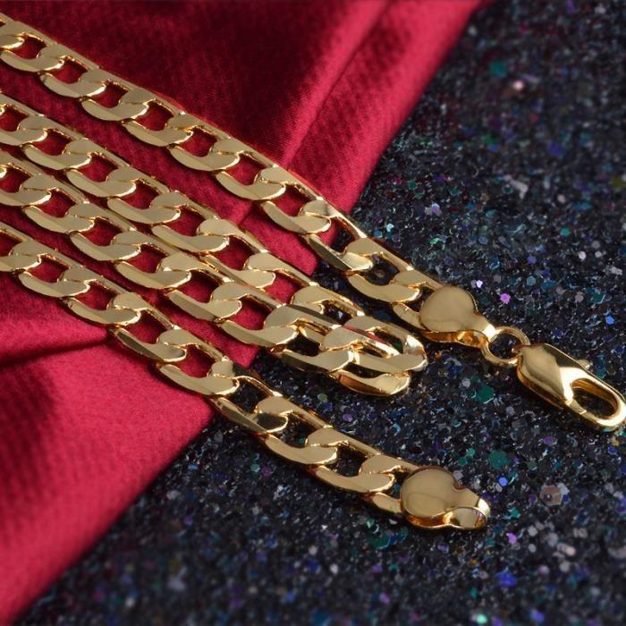 CHAINE DE COU SEULE Collier solide Bijoux pour hommes Chaîne de 24 pou