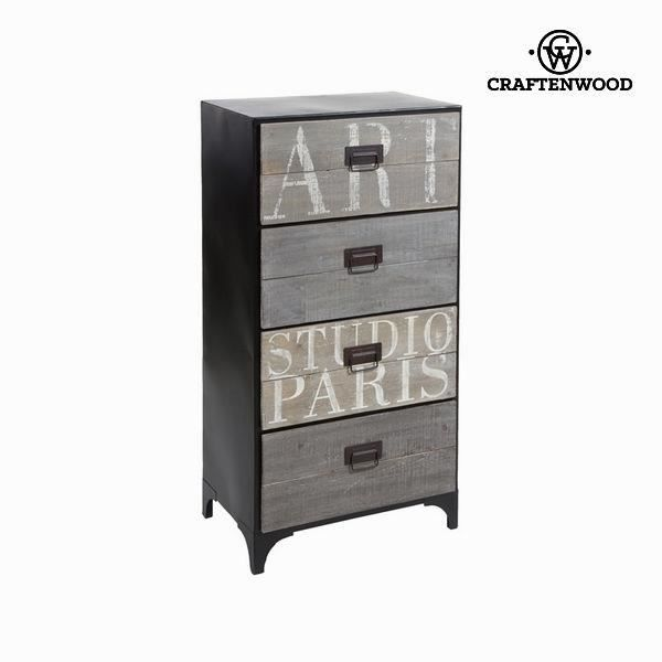 chiffonnier 4 tiroirs industriel by craftenwood achat vente chiffonnier semainier. Black Bedroom Furniture Sets. Home Design Ideas
