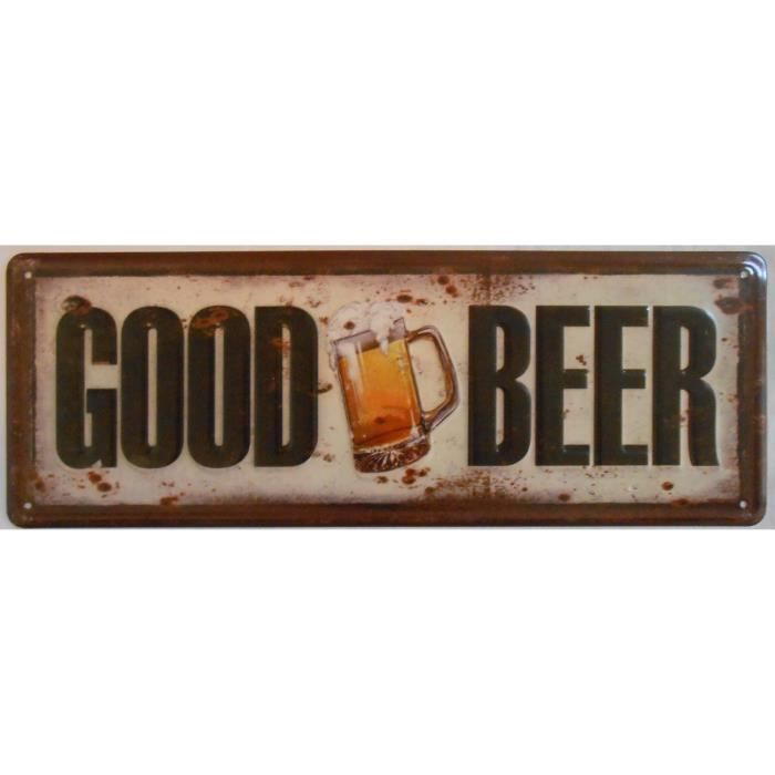 Plaque d corative m tal en relief good beer 13x36 cm for Plaque murale decorative metal
