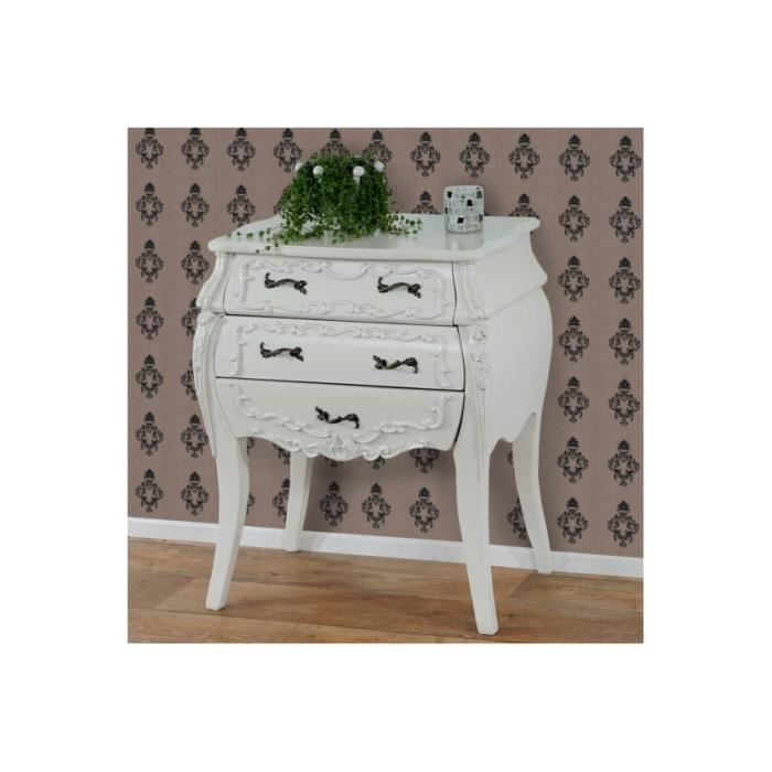 commode florence baroque antique blanc cr me achat vente commode de chambre commode. Black Bedroom Furniture Sets. Home Design Ideas
