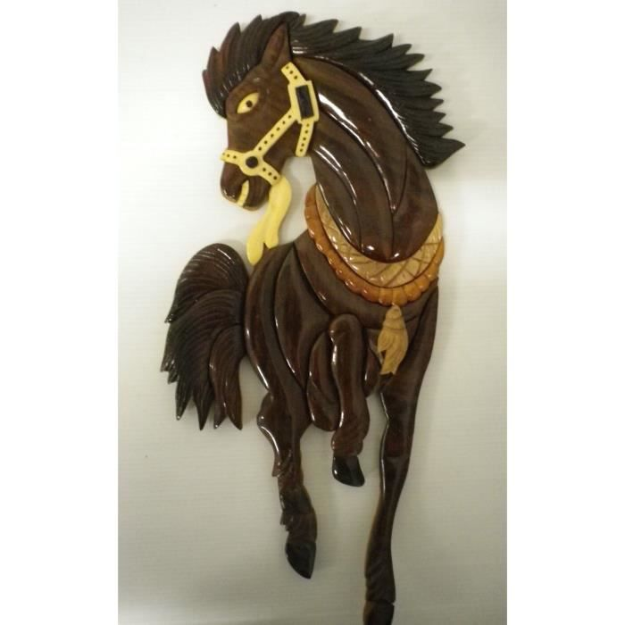Decoration murale en bois laque cheval fougueux achat for Decoration murale one piece