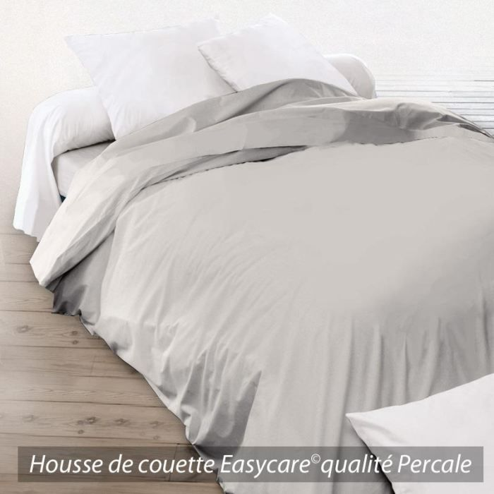 housse de couette percale 240x260 tourterelle achat vente housse de couette cdiscount. Black Bedroom Furniture Sets. Home Design Ideas