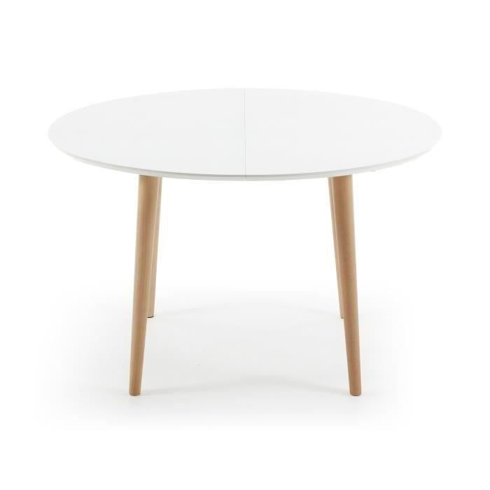 Table oqui ovale extensible 120 200 cm naturel et blanc for Salle a manger table ovale
