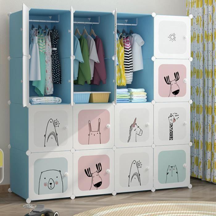 Armoire Chambre Meuble Rangement Enfant- 16 Porte 3 Penderie- Armoire  Plastique Cartoon- 147x47x147cm- Bleu - Cdiscount Maison