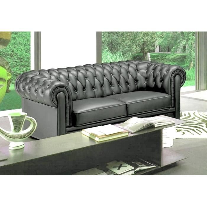 Canap 2 places en cuir italien chesterfield achat for Canape chesterfield cuir occasion