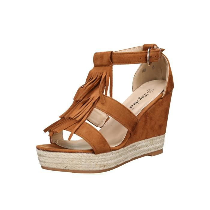 Sandale compensee Lily shoes 189 Camel
