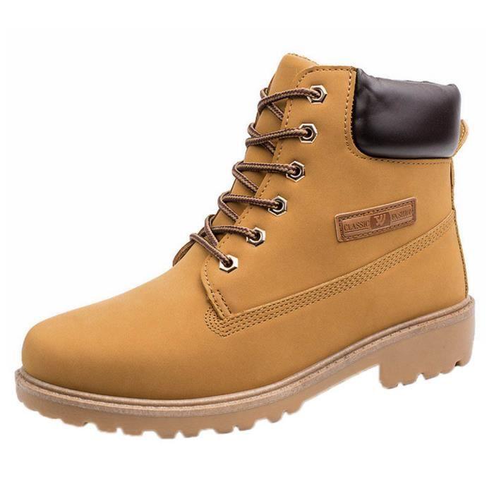 Martin Bottines Pilerty®Hommes Hiver Automne Jaune Fourrure Chaud Chaussures Doublée Bottes Ajq54RL3