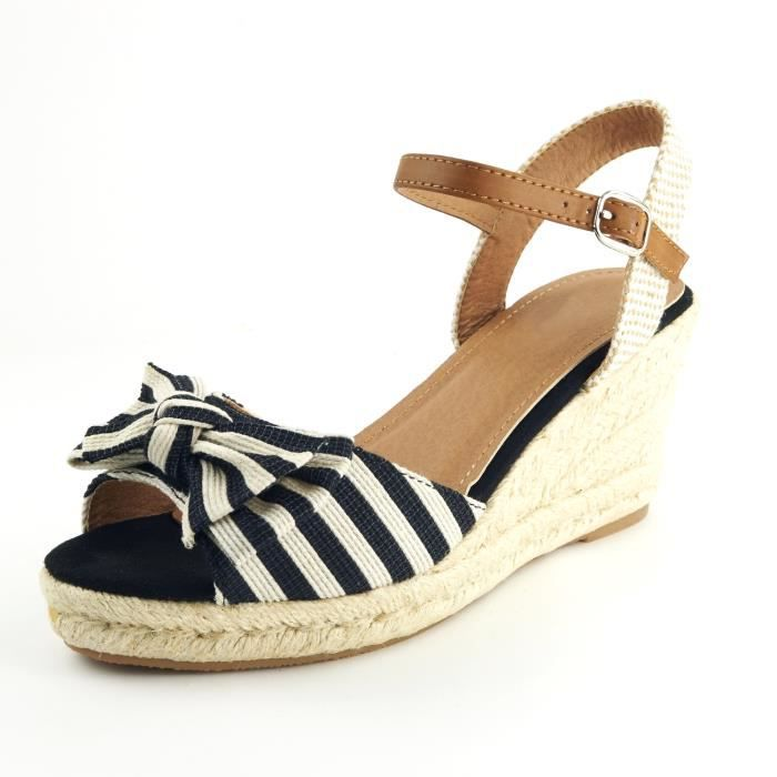 Nu Avec Sandale Chaussure Mode A Espadrille Femme Pieds Rayures 7Yfgb6yv