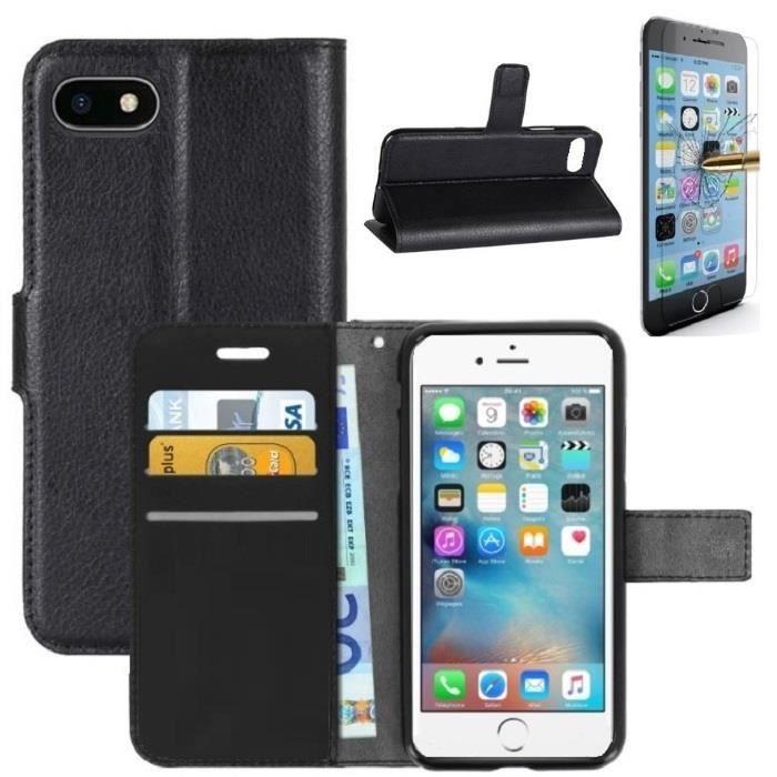 coque iphone 7 rabat portefeuille noir verre tre