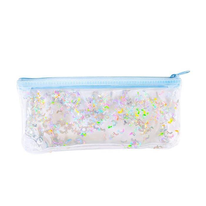 zmk Trousse /à crayons multicolore pour femmes et filles Fournitures scolaires en fausse fourrure de lapin Sac de rangement pour maquillage et pompons