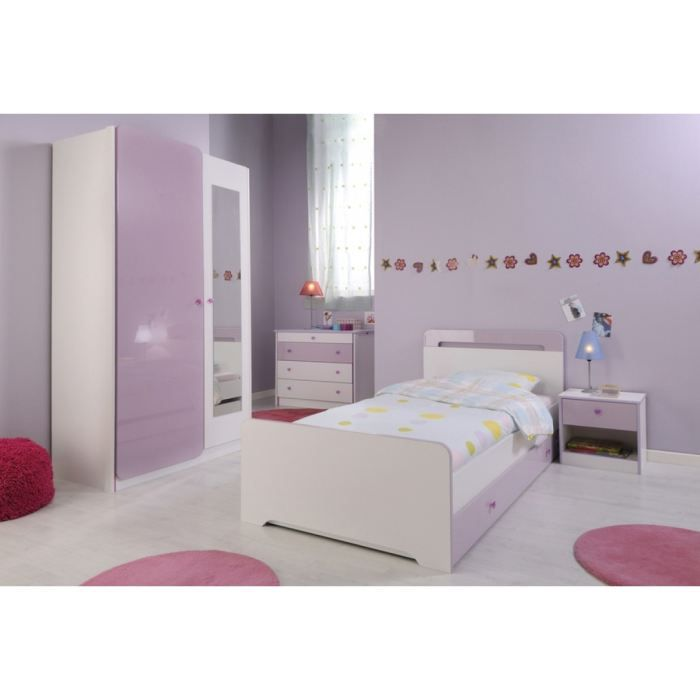 Chambre compl te someo in s rose et blanche 90x190 achat for Achat chambre complete