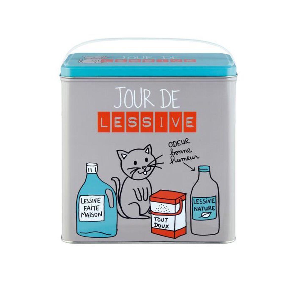 Rangement Machine À Laver boîte à lessive en métal décoré jour de lessive chat - rangement - machine  à laver - dlp dérriere la porte