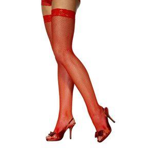Bas résille Rouge Taille Unique Moyen Par Silky