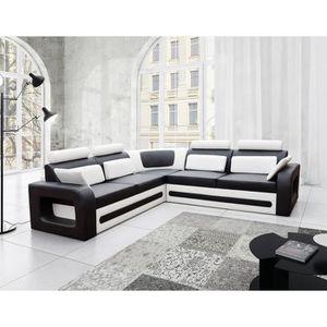 CANAPÉ - SOFA - DIVAN Canapé d'angle convertible noir et blanc avec coff