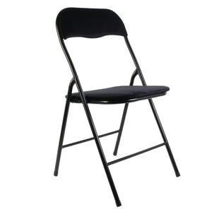 CHAISE Chaise pliable en velours vintage Ecken - Noir