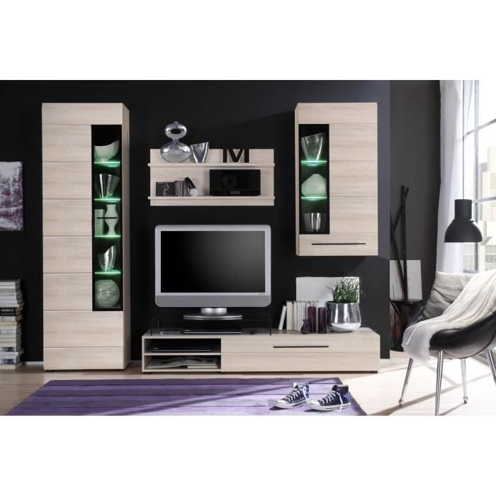skin meuble tv mural en 250 cm avec clairage led d cor. Black Bedroom Furniture Sets. Home Design Ideas