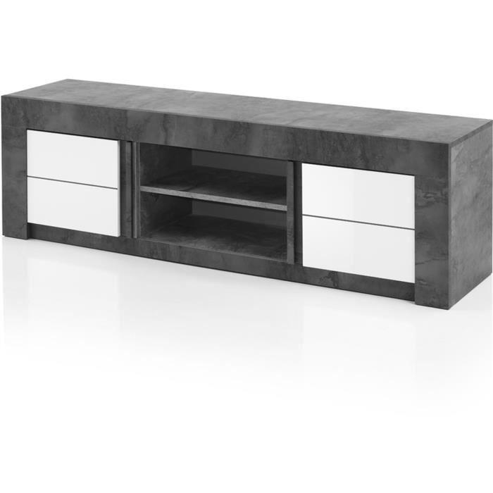 ALBEA Meuble TV 2 Portes - Blanc - L 170 x P 46 x H 50 cm - CAPRI