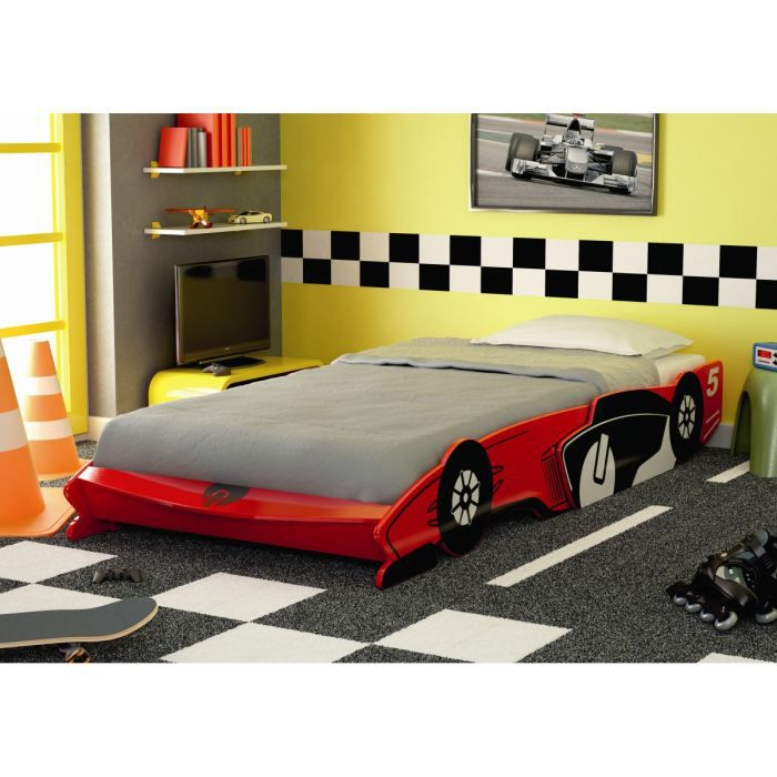 fast lit enfant voiture laqu rouge l 90 x l 190 200 cm. Black Bedroom Furniture Sets. Home Design Ideas
