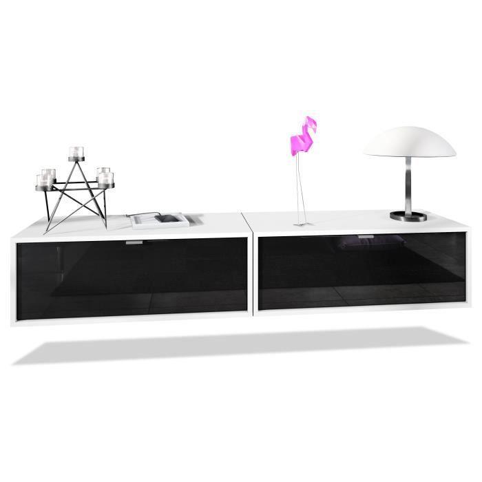 Ensemble de 2 set meuble TV Lana 80 armoire murale lowboard 80 x 29 x 37 cm, caisson en blanc mat, façades en Noir haute brillance