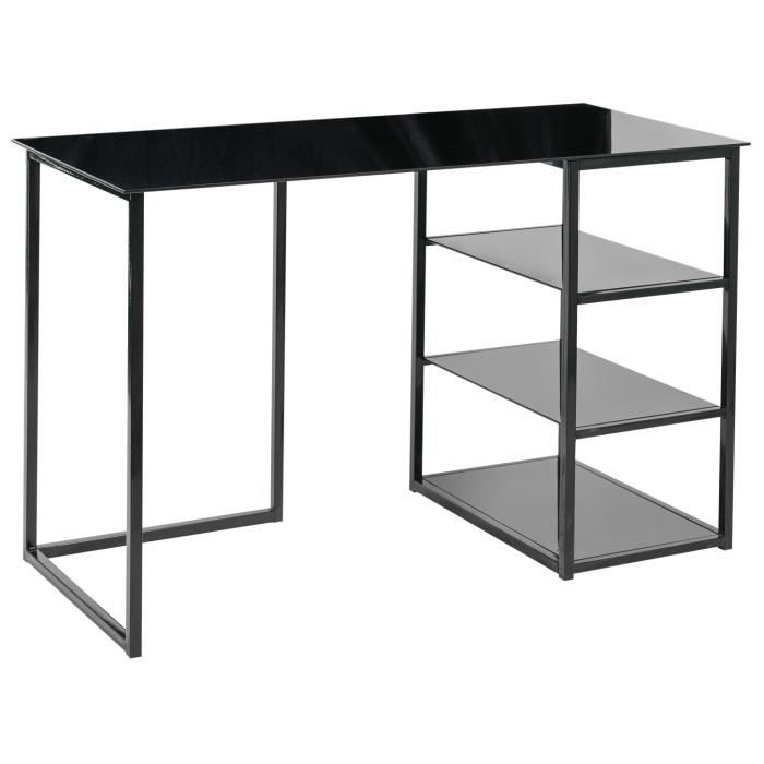 glass bureau contemporain en m tal et verre tremp noir mat l 120 cm achat vente bureau. Black Bedroom Furniture Sets. Home Design Ideas