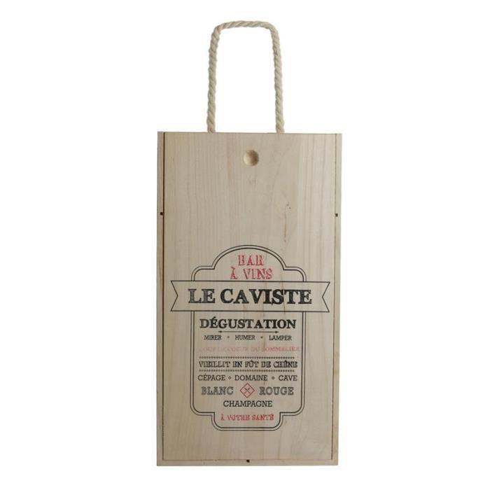 Service et présentation des alcools - Coffret de vin pour 2 bouteilles - Bois - Modèles aléatoires 37 cm