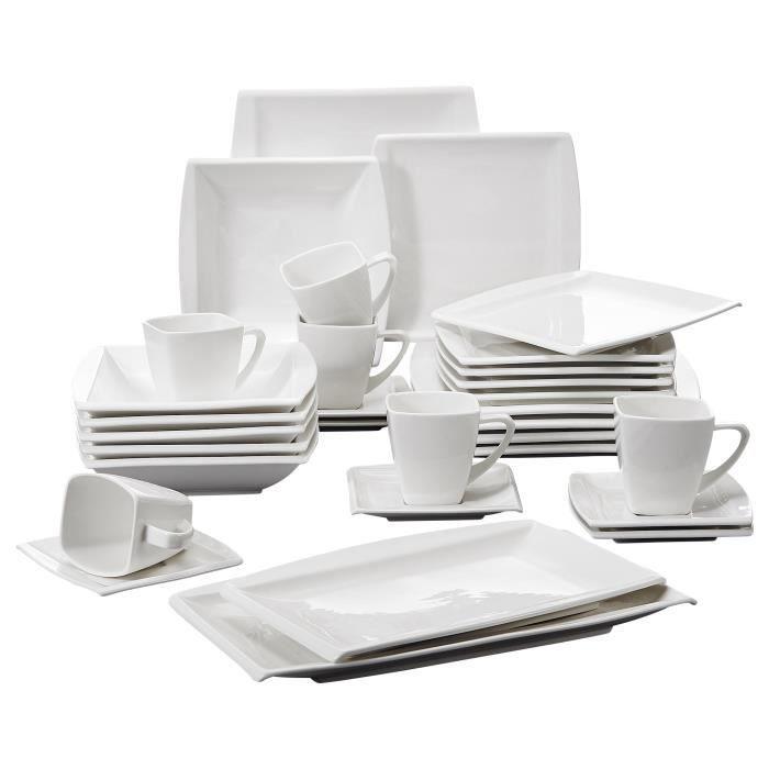 Malacasa Série Blance 32pcs Service de Table Porcelaine Tasses Soucoupe Assiette Plat Vaisselle Céramique