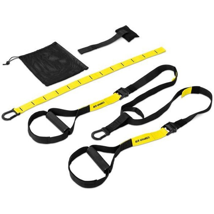 Sangle Sangles TRX De Suspension Fitness Gymrex GR-ST 30 (Sangles En Polypropylène, Longueur Ajustable 108-164 cm, Sac Fourni)