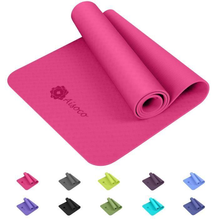 Aisoco Premium TPE Tapis de yoga : Nouvelle Génération Matière TPE, poids léger, antidérapant, respectueux de l'environnement,Séc