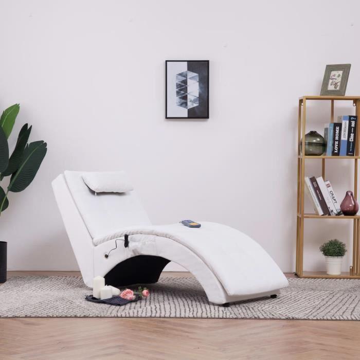 Fauteuil de massage Relax Massant Chaise longue de massage Relaxation avec oreiller Blanc Similicuir