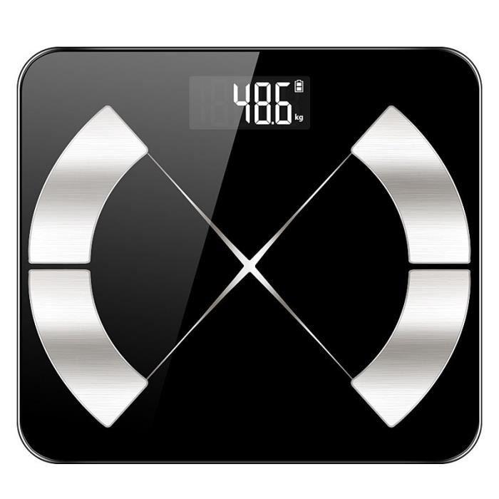 Pèse Personne Éléctronique, Balance Connectée Bluetooth Smart Avec Écran LCD Rétro-éclairé - Noir
