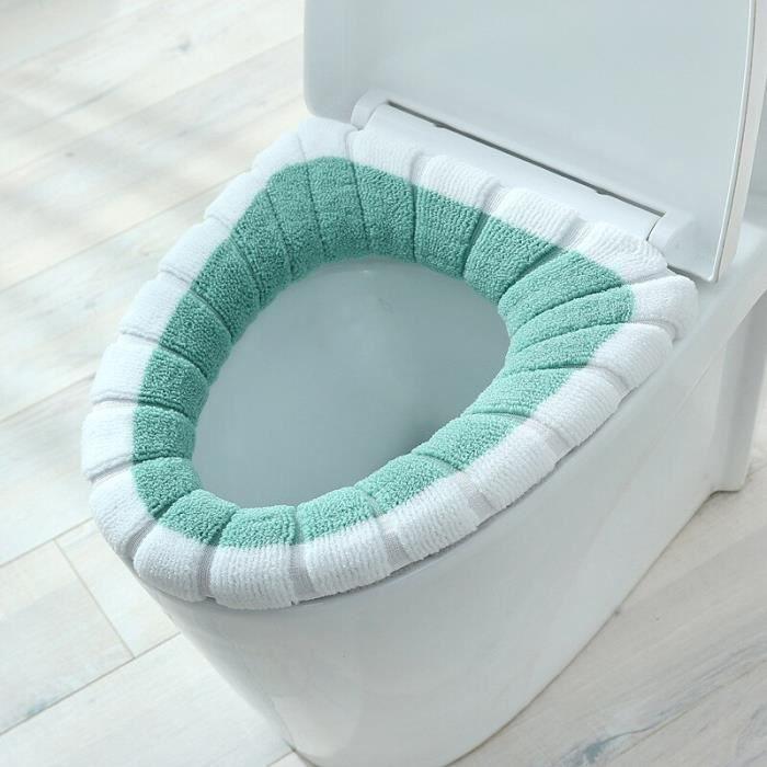 Abattant Wc,Nouveau Style nordique contraste couleur poignée siège de toilette tricoté couverture de toilette - Type Vert armée
